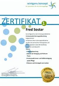 zertifikat fred sostar